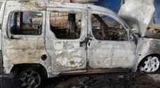 مستوطنون يحرقون مركبة مواطن جنوب نابلس