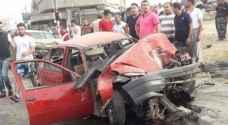 بالصور: ٢٠ إصابة بتصادم شاحنة مع ٢٧ مركبة في ايدون إربد