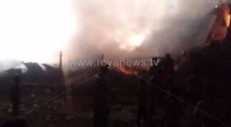 حريق مستودع لصناديق البولسترين في اربد .. صور