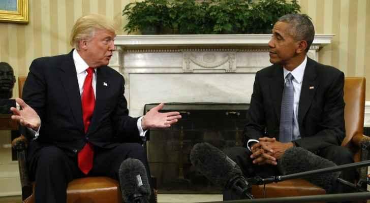 الريس الأمريكي الحالي باراك أوباما والرئيس المنتخب دونالد ترامب