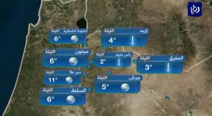درجات الحرارة المتوقعة لهذه الليلة