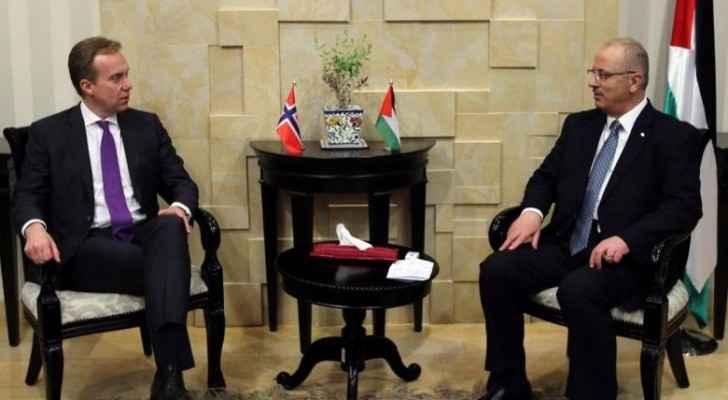 رئيس الوزراء رامي الحمد ووزير خارجية النرويج بورغ برنده