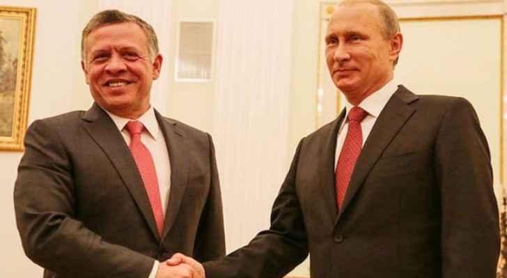 الملك إلى جانب الرئيس الروسي فلاديمير بوتين - ارشيف