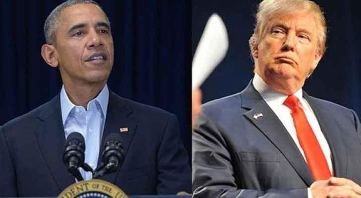 الرئيس الأميركي السابق باراك أوباما والرئيس دونالد ترامب