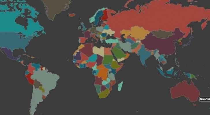 خريطة تفاعلية للعالم يقدمها الموقع