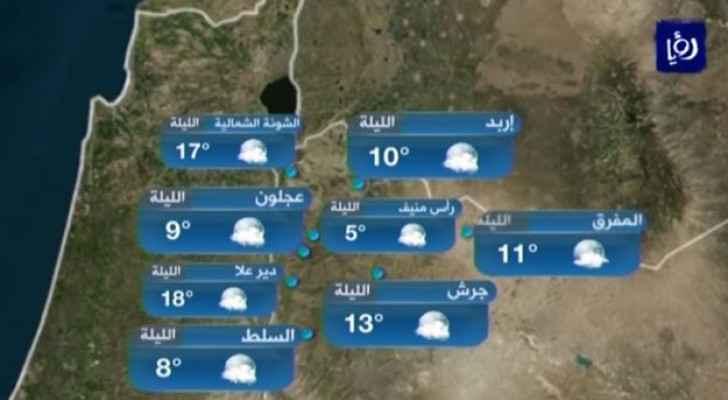 انخفاض على الحرارة وأجواء معتدلة نهارًا وباردة ليلًا الجمعة