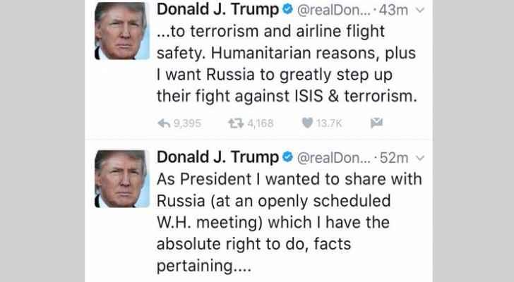 التغريدات التي نشرها الرئيس الامريكي على تويتر
