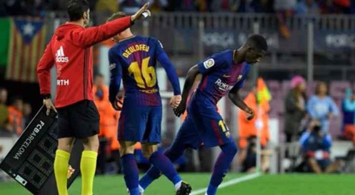 لحظة دخول ديمبلي في مباراة برشلونة واسبانيول