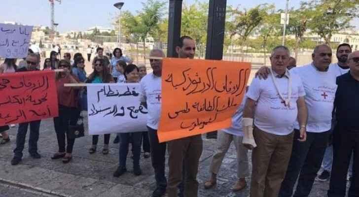 تظاهرة في القدس ضد بيع وتسريب أملاك الكنيسة الأرثوذكسية للاحتلال