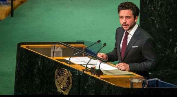 ولي العهد أثناء إلقاء كلمة الأردن خلال أعمال الدورة 72 للجمعية العامة للأمم المتحدة
