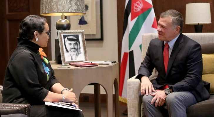 الملك عبدالله الثاني ووزيرة الخارجية الإندونيسية ريتنو مارسودي