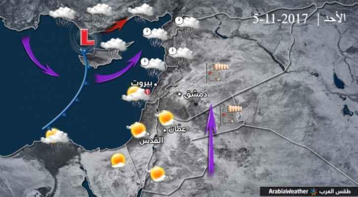 لا تأثيرات للمنخفض الجوي على الأردن يوم الأحد ..أتربة مثارة شرق البلاد