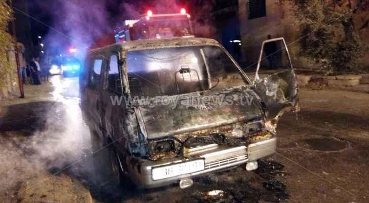 الامن يحقق بحرق مركبة من قبل مجهولين في اربد