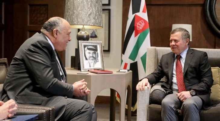 جلالة الملك عبدالله الثاني ووزير الخارجية المصري سامج شكري