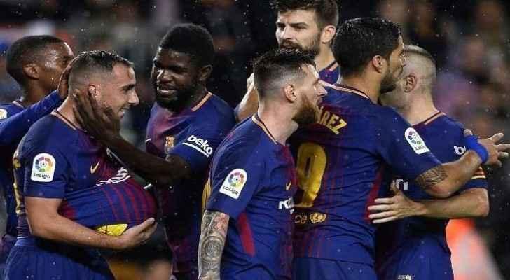 من مباراة برشلونة وفريق فالنسيا
