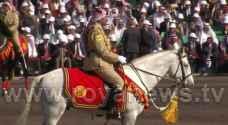 """بالفيديو: الملك يستعرض حرس الشرف خلال """" استعراض العلم """""""