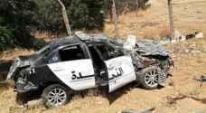 إصابة رجلي أمن عام بتدهور دورية نجدة شرقي إربد
