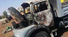 حريق شاحنة في اربد .. صور