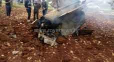 ناشطون يتداولون صورا وفيديو لحطام طائرة الاحتلال في بلدة ملكا بمحافظة اربد