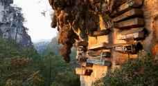 """قبيلة تعلّق """"الموتى"""" على المنحدرات الجبلية بدلاً من دفنهم بالفلبين"""