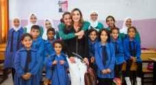 الملكة رانيا تشارك في احتفال بمدرسة منشية حسبان الثانوية المختلطة بناعور.. فيديو