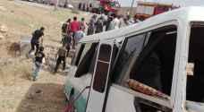 12 اصابة بتدهور باص في منطقة جسر القطرانة باتجاه الكرك