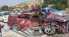 وفاة وتسع إصابات بحادث تصادم مروع في جرش.. صور