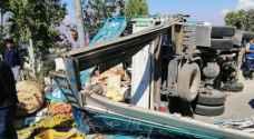 وفاة و8 اصابات بحادث تدهور في البلقاء - صور