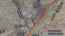 خريطة توضح اجراء تحويلات السير القادم من الزرقاء الى عمان