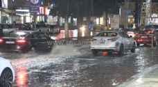 أمطار غزيرة في اربد وارتفاع منسوب المياه ليلة الاثنين - فيديو