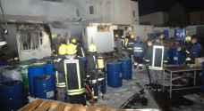 إخماد حريق كرافان تابع لمصنع في اربد