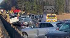 اصطدام 63 سيارة في حادث مروع بولاية فرجينيا الأمريكية.. فيديو