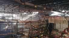 اندلاع حريق ضخم في سوق الرواق بالعقبة.. صور وفيديو