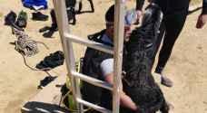 الدفاع مدني ينقذ غنمتين سقطتا داخل بئر ماء في الطفيلة - صور