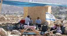 مستوطنون ينصبون الخيام في منطقة جبل صبيح جنوب نابلس