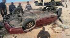 إصابتان بتدهور وانقلاب مركبة في منطقة قطر بالعقبة.. صور