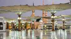 أمطار رعدية بالمسجد النبوي في المدينة المنورة السبت .. فيديو وصور