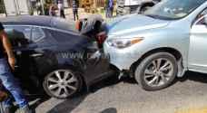 إصابات بتصادم 6 مركبات في المقابلين بعمان.. فيديو