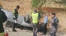 3 إصابات بتدهور مركبة على طريق الموجب
