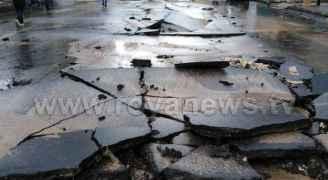 بالصور.. انهيار شارع رئيسي بشكل كامل في وسط البلد عمان