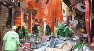 الشواربة يتفقد موقع حادث مطعم وسط البلد