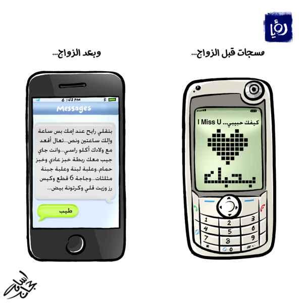 كاريكاتير اسامة حجاج لنشرة أخبار رؤيا (الزواج قبل وبعد)