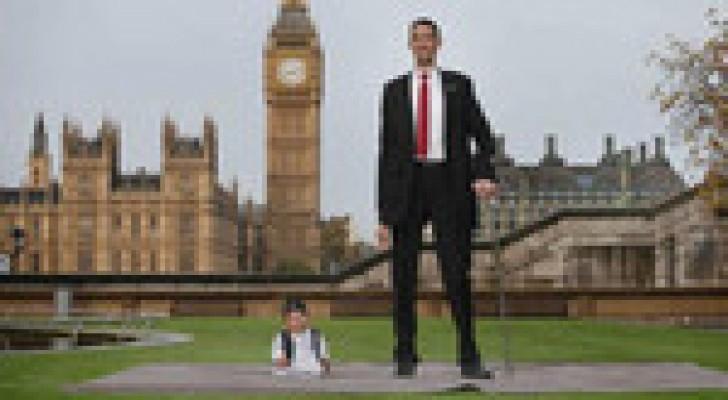 لندن تجمع بين أطول وأقصر رجلين في العالم.. صور
