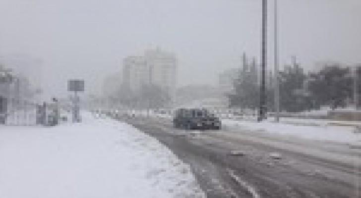كميات تراكم الثلوج بعد مرور الجبهة الهوائية الباردة الاولى