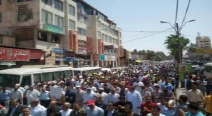 مسيرة تضامنية مع الشعب الفلسطيني في مخيم الزرقاء