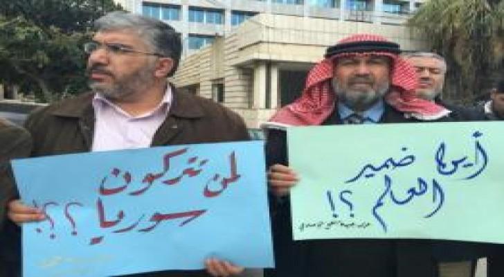 بالصور: اعتصام للعمل الإسلامي في العبدلي تضامناً مع الشعب السوري