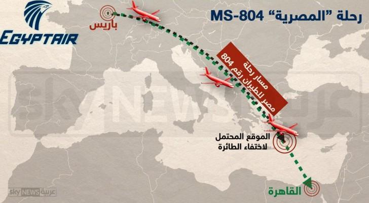 مسار الطائرة المصرية المنكوبة