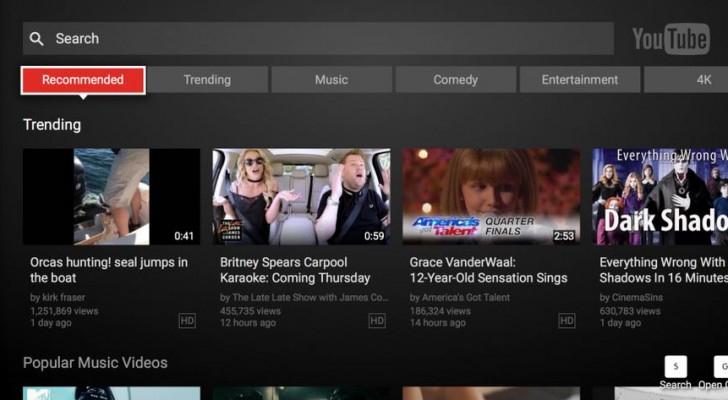 يوتيوب تعيد تصميم واجهة تطبيقها الخاص بأجهزة التلفاز