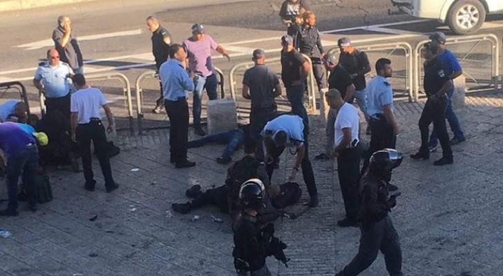 بالصور: إصابة فلسطيني بعد طعنه شرطيين اسرائيليين