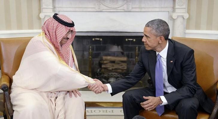 ولي العهد السعودي أثناء استقبال أوباما له (أرشيفية)